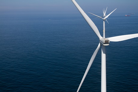 Close-up wind turbine offshore